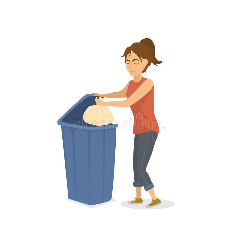 Woman throwing plastic trash garbage in a trash bin royalty free illustration