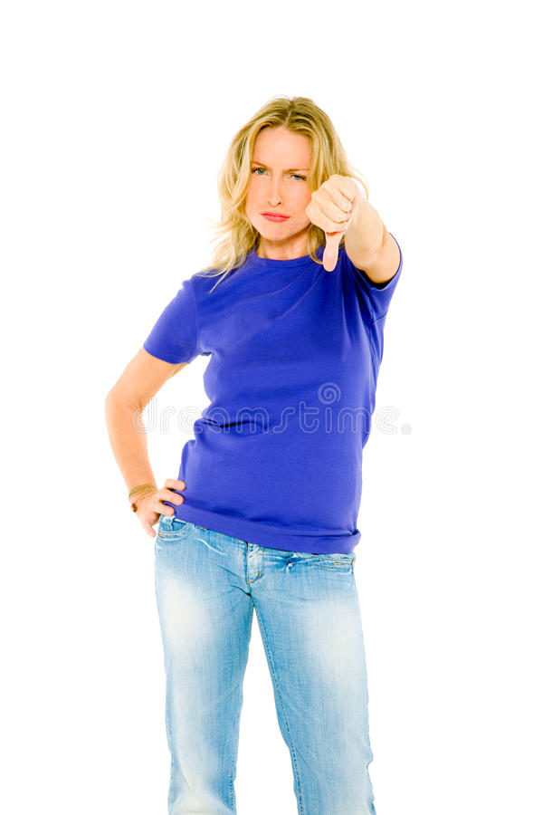 Woman With Thumb Down Royalty Free Stock Photos
