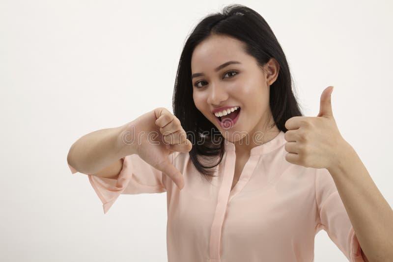 Woman thumb`s up royalty free stock photos