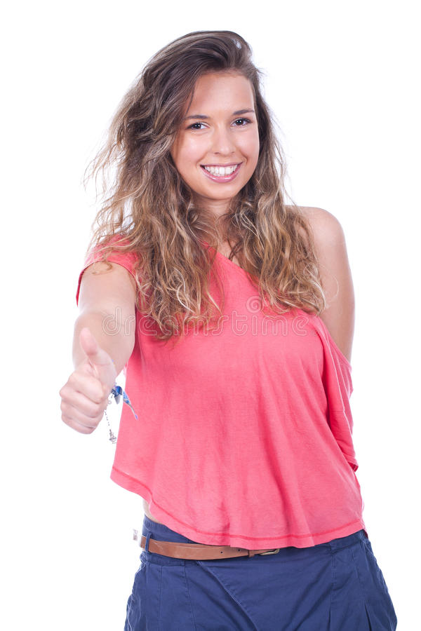 Download Woman with thumb up stock image. Image of brunette, finger - 20183323