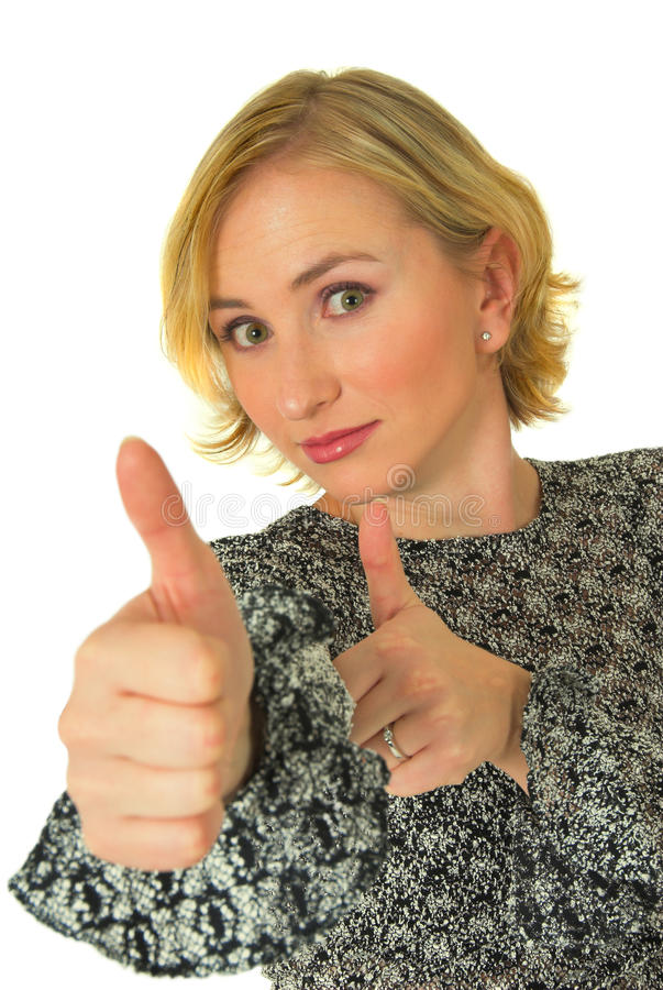 Woman with thumbs up. Young blond woman with two thumbs up; isolated on white background royalty free stock images