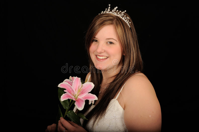 Woman with tiara royalty free stock photography