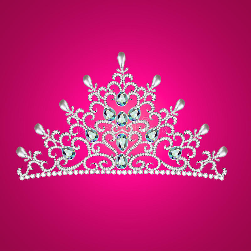 Of a woman with tiara crown jewels on pink royalty free illustration