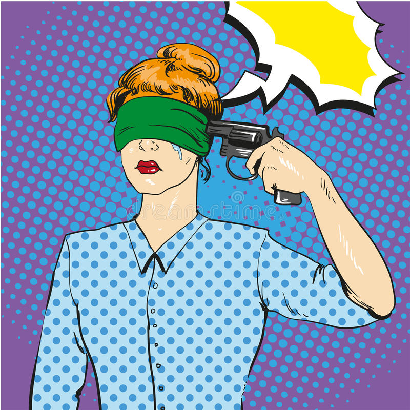 Woman with tied eyes put gun to her head in attempt of suicide. Vector illustration in retro comic pop art style. Playing russian roulette concept royalty free illustration