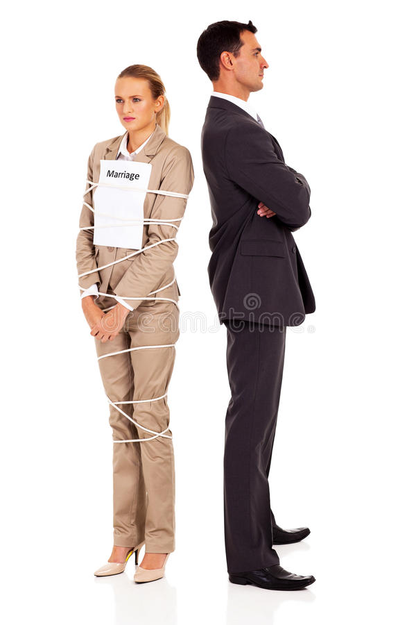 Woman tied marriage stock image