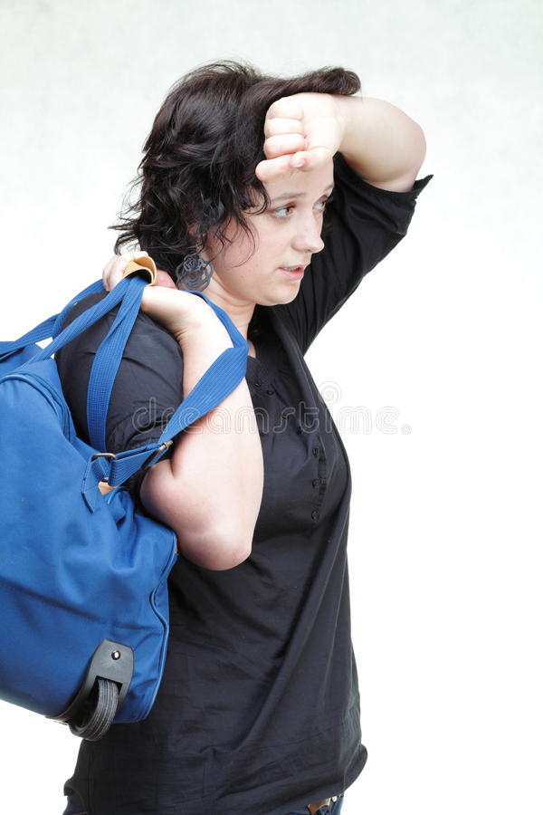 Download Woman Tired And Shoulder Bag Isolated Stock Photo - Image: 31420362