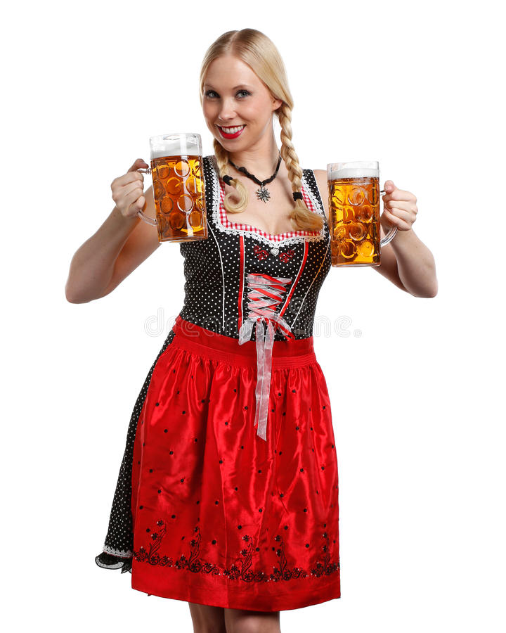 Woman in tiroler oktoberfest style with a glass of beer stock image