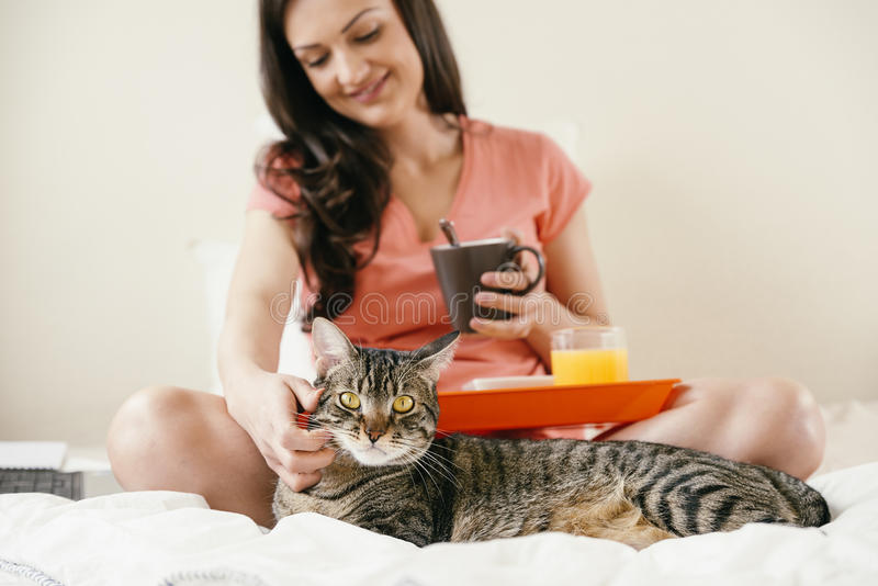 Woman to caress her cat and having breakfast. She is in her bedroom royalty free stock photo
