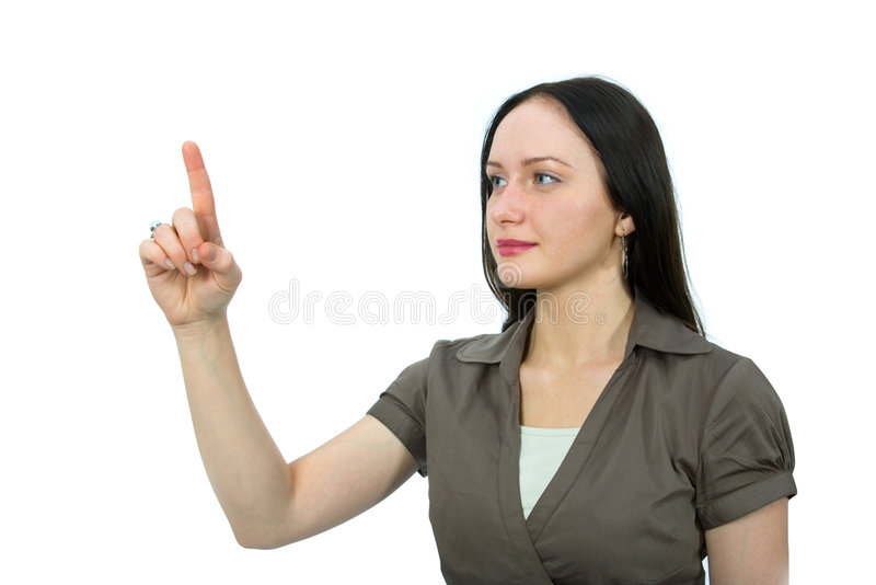 Woman to point royalty free stock photo