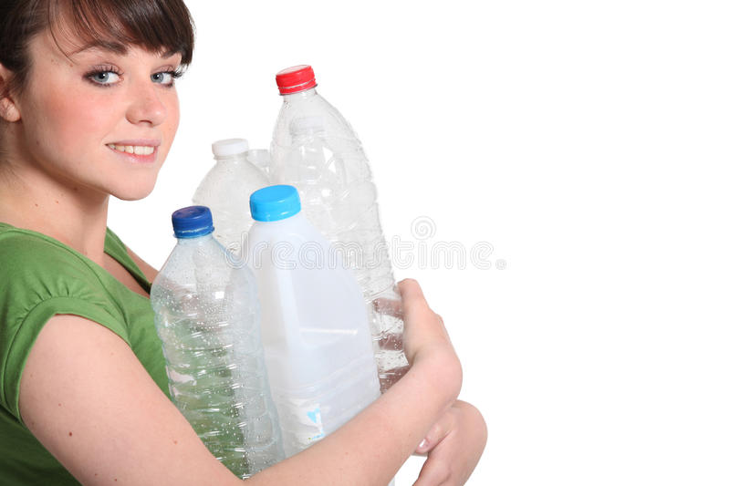 Download Woman about to recycle stock photo. Image of over, garbage - 25670296