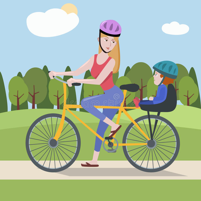 Woman and toddler on a bike at the park. Cute vector illustration of modern female royalty free illustration