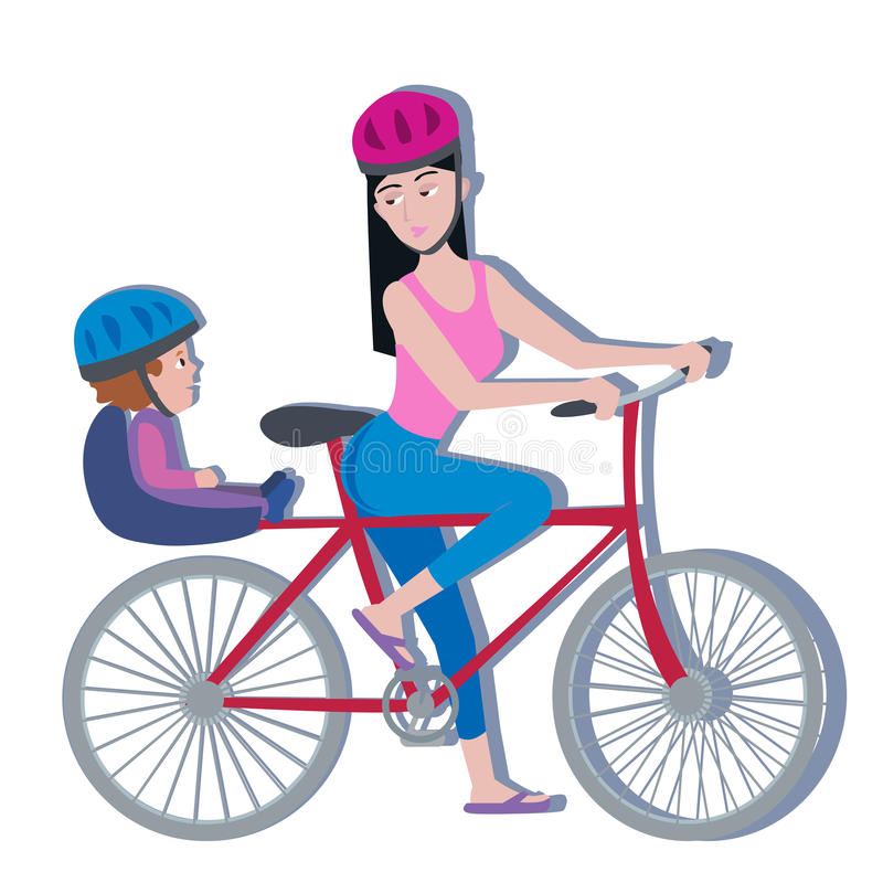 Woman and toddler on a bike, white background. Woman and toddler on a bike - colorful vector illustration on the white background royalty free illustration