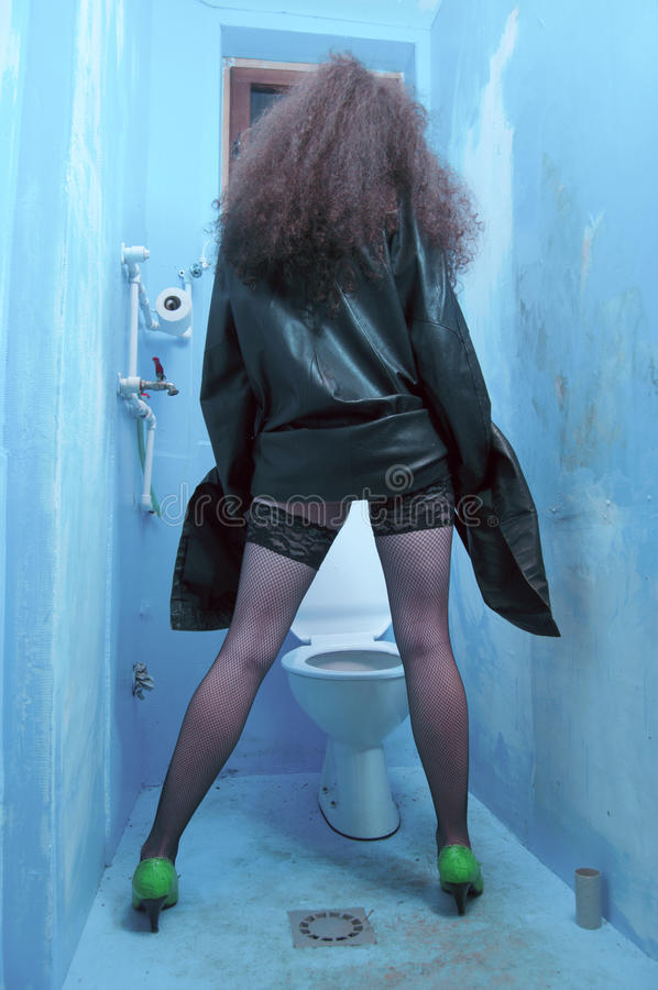Download Woman at toilet stock image. Image of dirty, back, lingerie - 14183017
