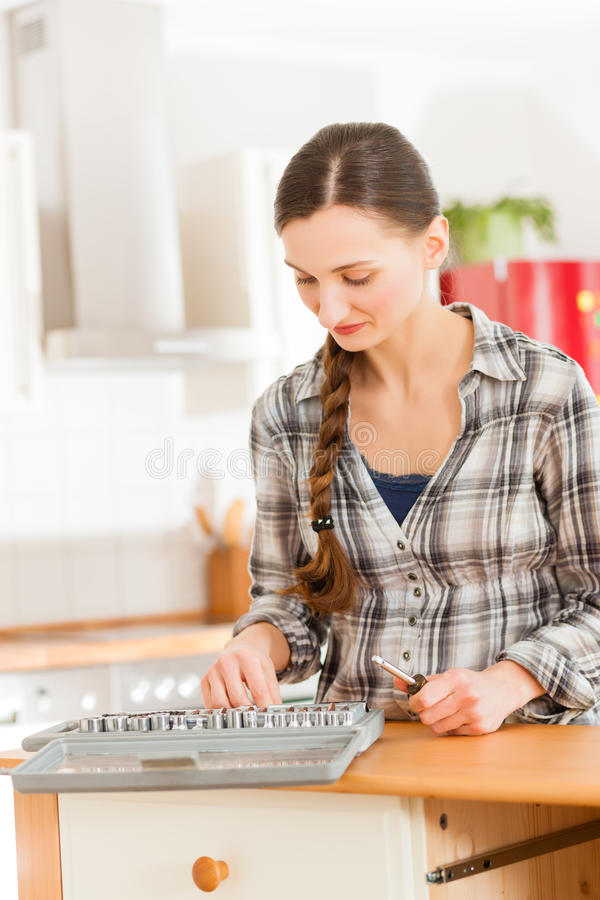 Download Woman With Toolbox And Screwdriver Stock Photo - Image of home, driver: 24650318