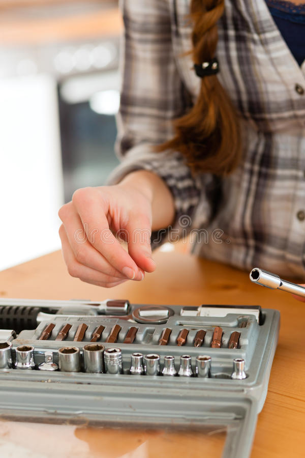 Download Woman With Toolbox And Screwdriver Stock Image - Image: 24650321