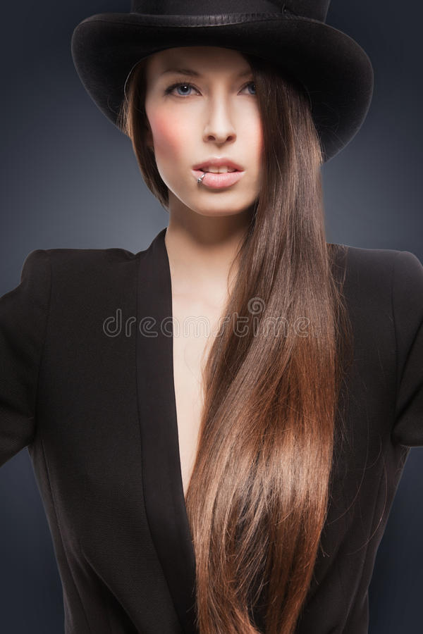 Download Woman in top hat stock image. Image of nice, babe, calm - 38340679