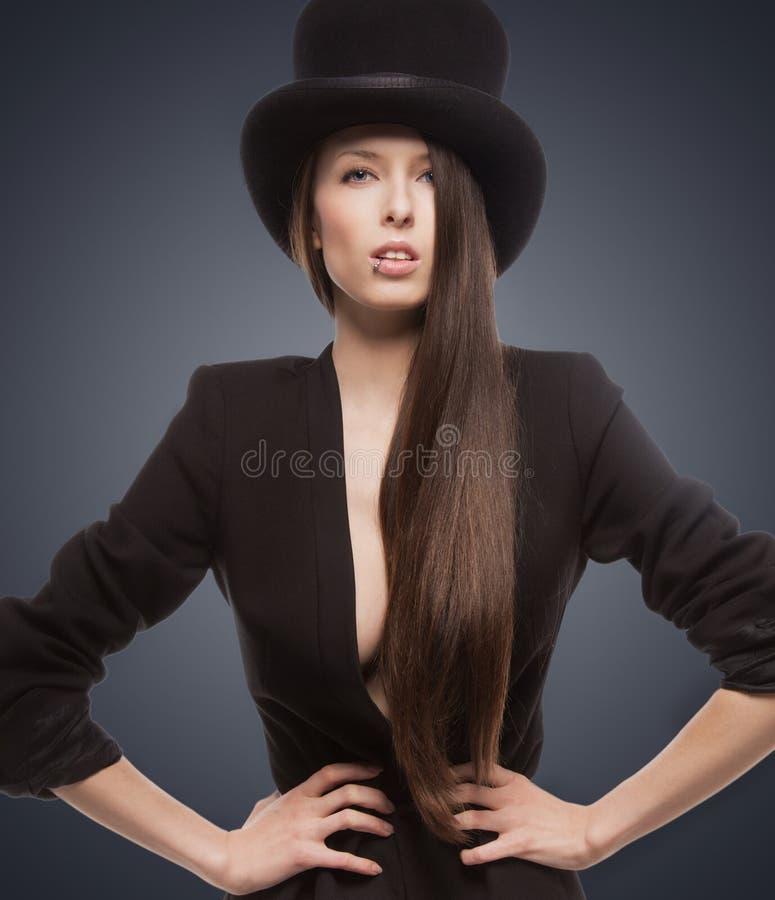 Download Woman in top hat stock photo. Image of model, girl, look - 38340688