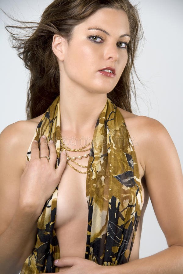 Woman topless with gold scarf royalty free stock photos