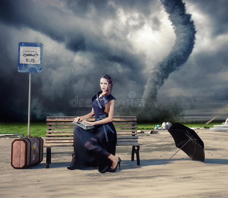 Woman And Tornado Stock Images