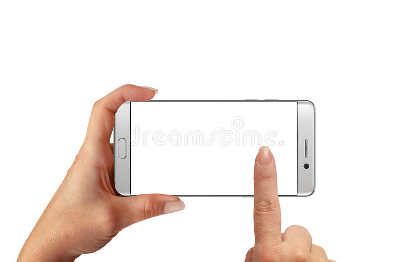 Woman touch isolated white smartphone display for mockup. royalty free stock images