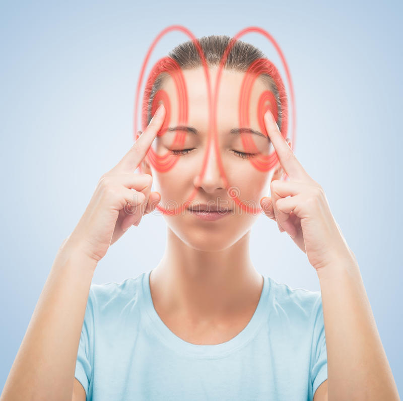Woman touches head, the temporal region of red royalty free stock photos