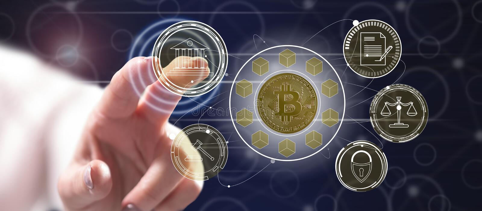 Woman touching a bitcoin regulation concept. On a touch screen with her finger vector illustration
