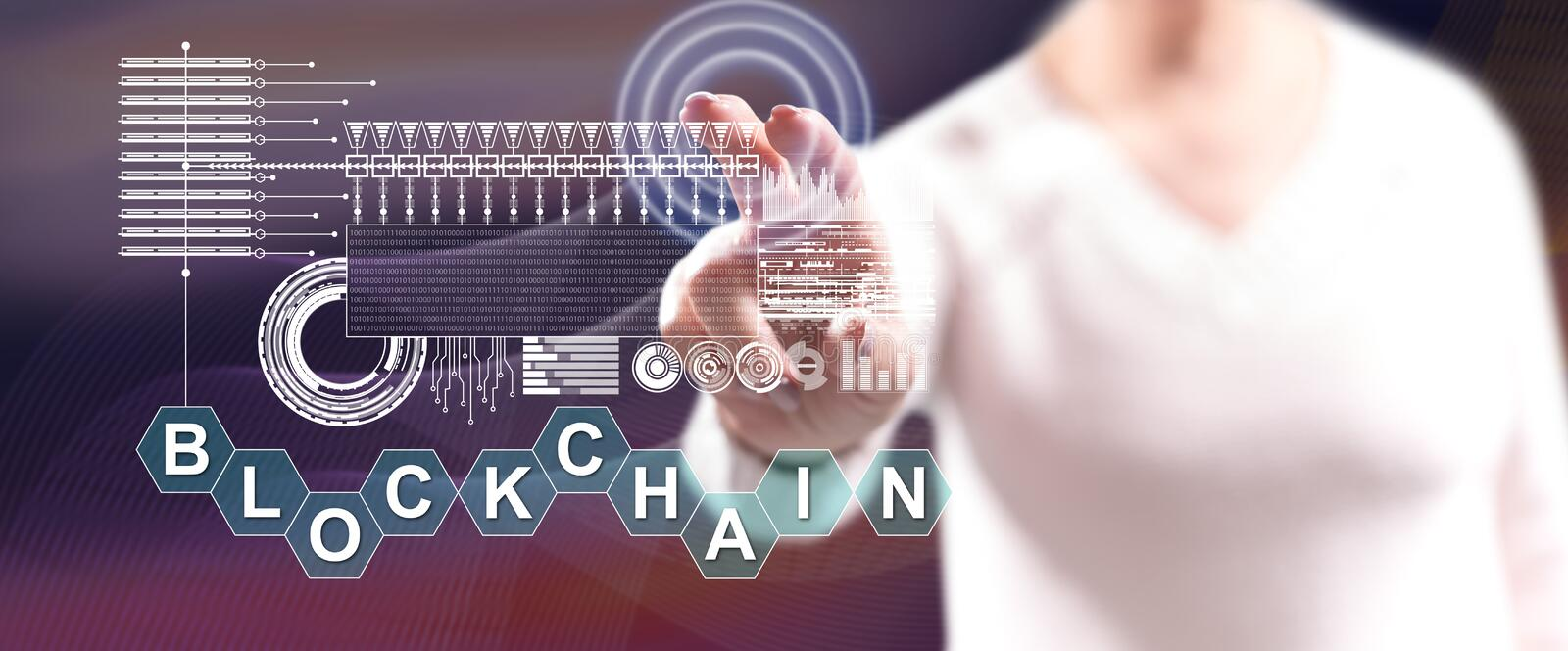 Woman touching a blockchain concept stock photography