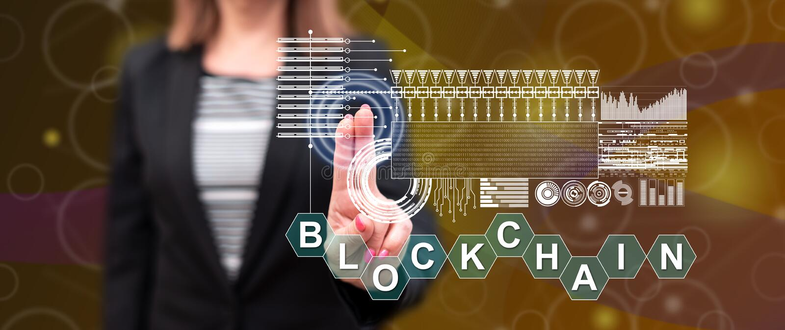 Woman touching a blockchain concept royalty free stock image