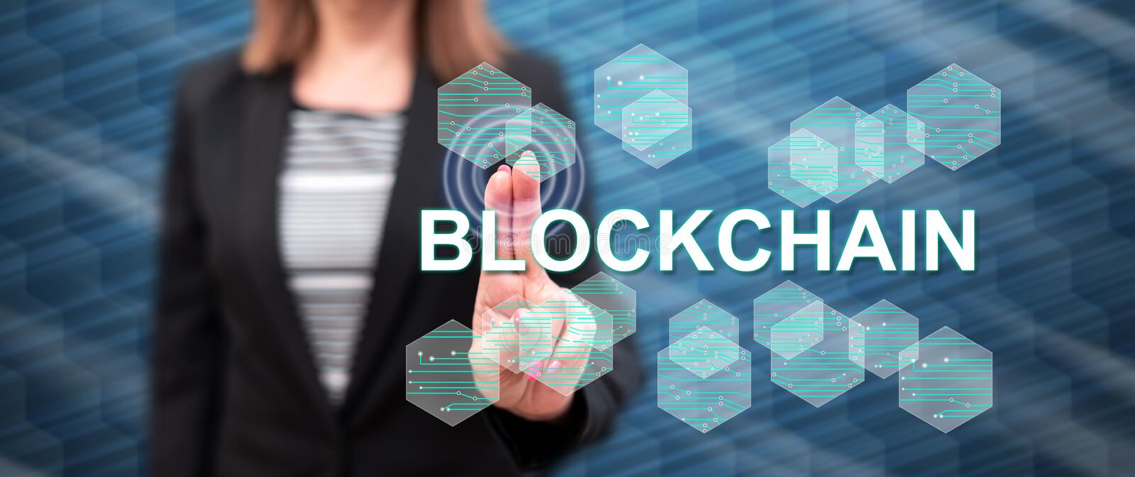 Woman touching a blockchain concept royalty free stock images