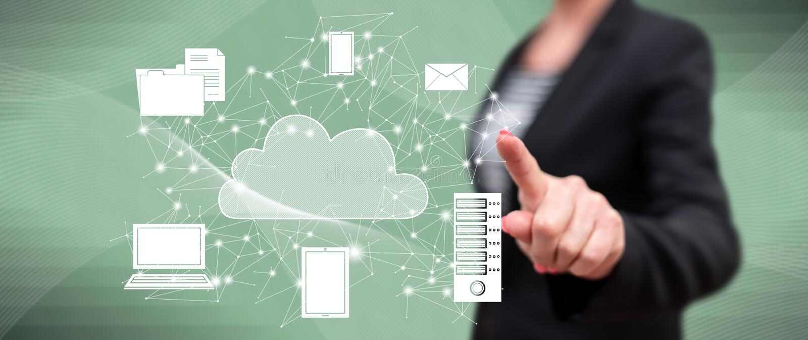 Woman touching a cloud computing concept. On a touch screen with her finger stock image