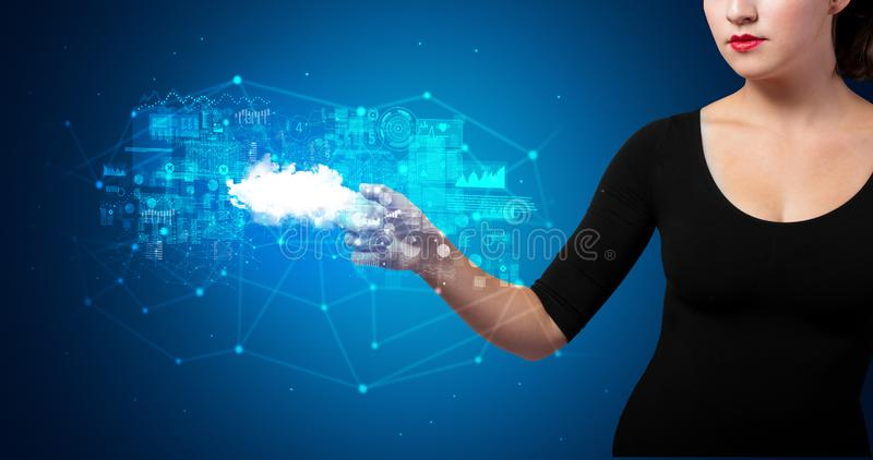 Woman touching cloud system hologram stock photography