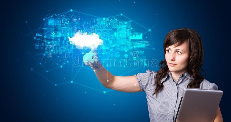 Woman touching cloud system hologram royalty free stock photos