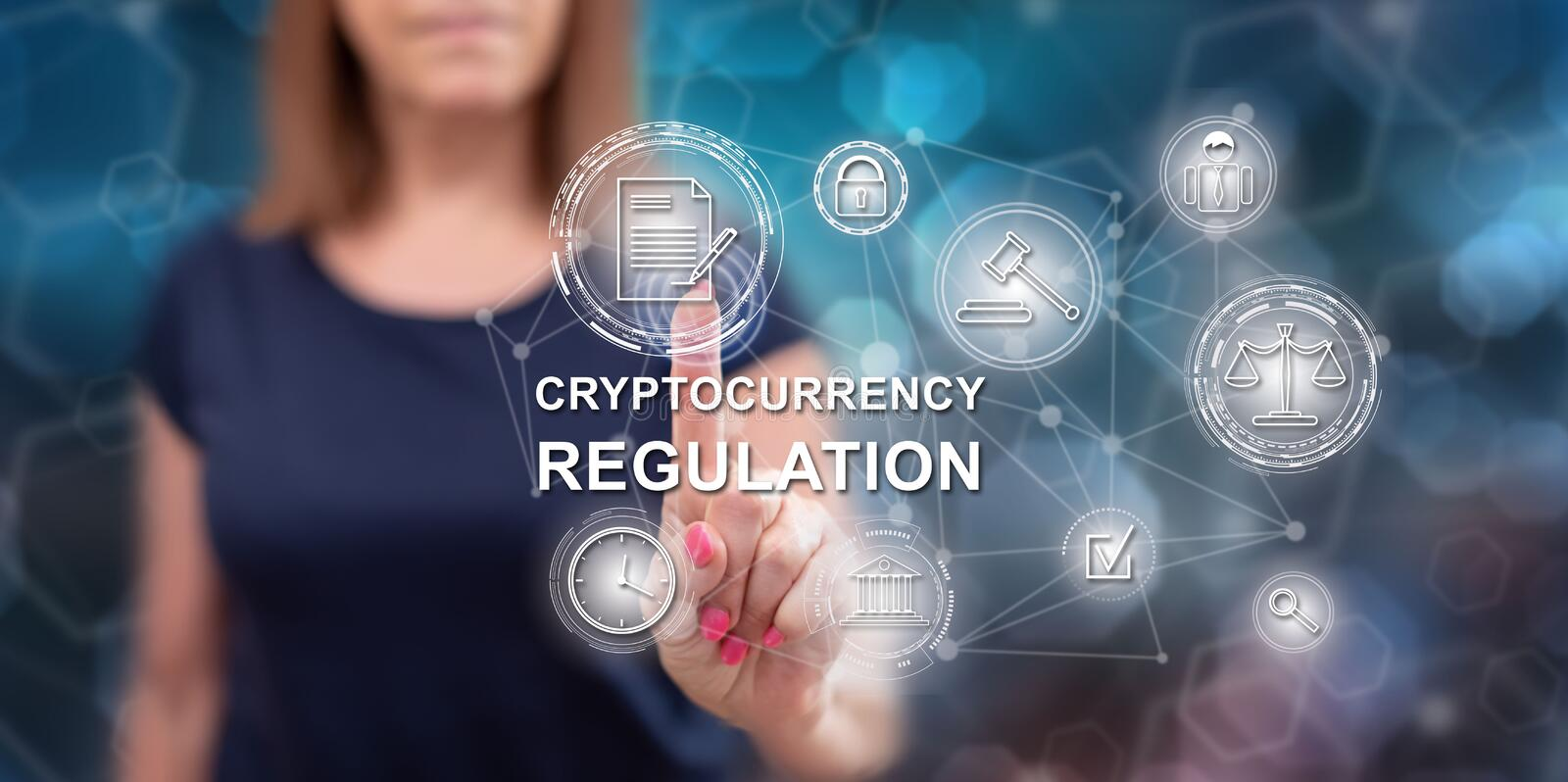 Woman touching a cryptocurrency regulation concept royalty free stock images