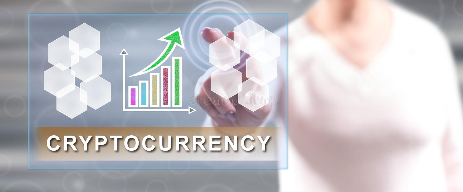 Woman touching a cryptocurrency success concept royalty free stock photography