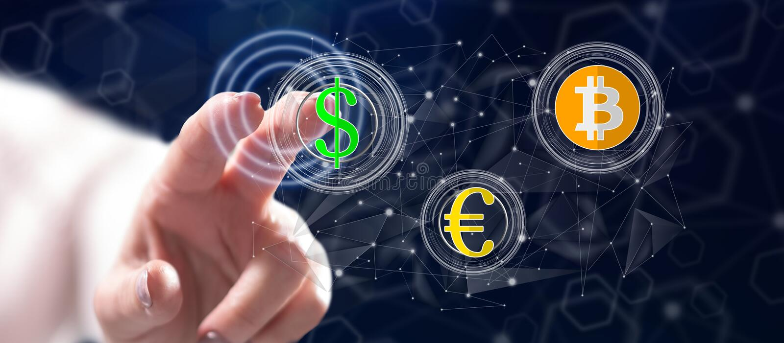 Woman touching a currency exchange concept. On a touch screen with her finger stock image