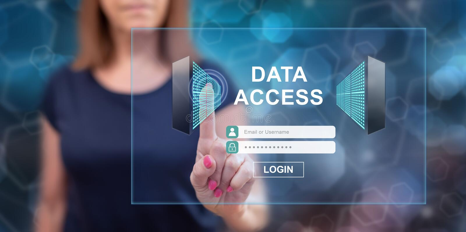 Woman touching a data access concept royalty free illustration