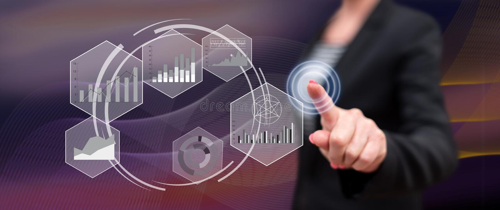 Woman touching a data analysis concept stock illustration