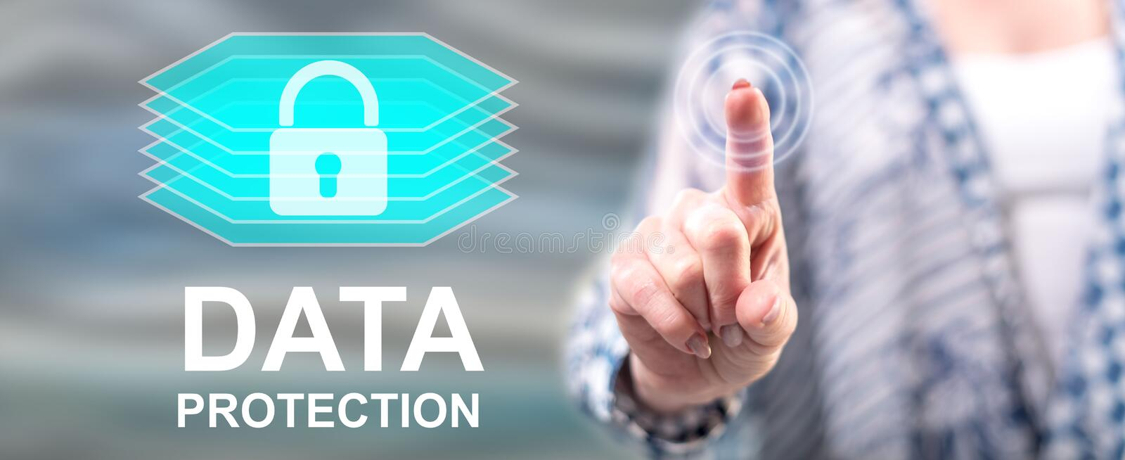 Woman touching a data protection concept stock illustration