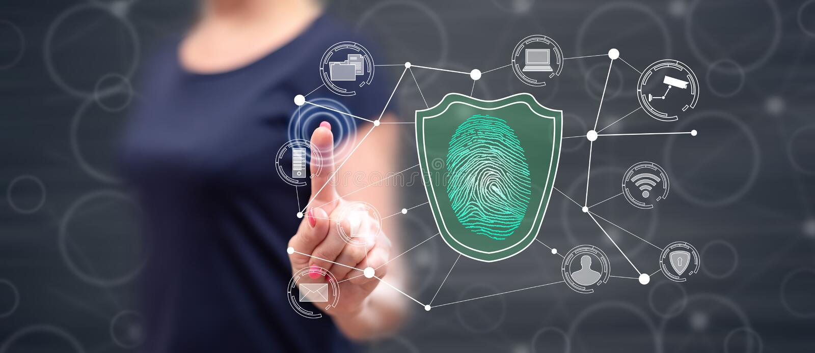 Woman touching a data security concept royalty free stock photos