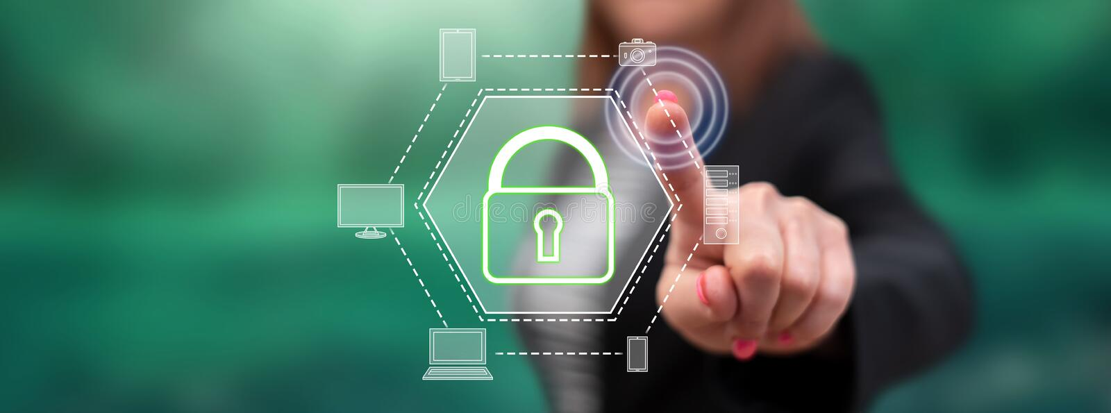 Woman touching a devices security concept. On a touch screen with her finger vector illustration