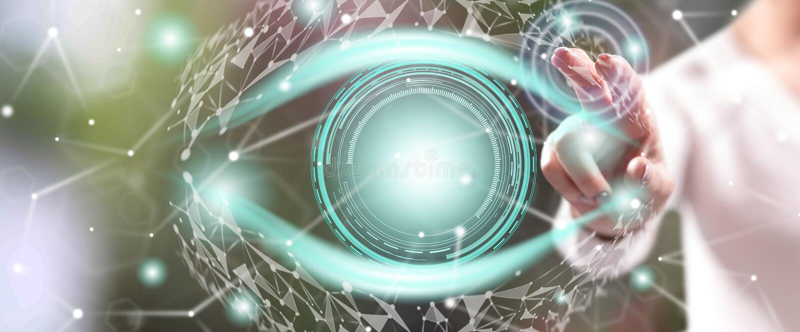 Woman touching a digital eye concept stock photos