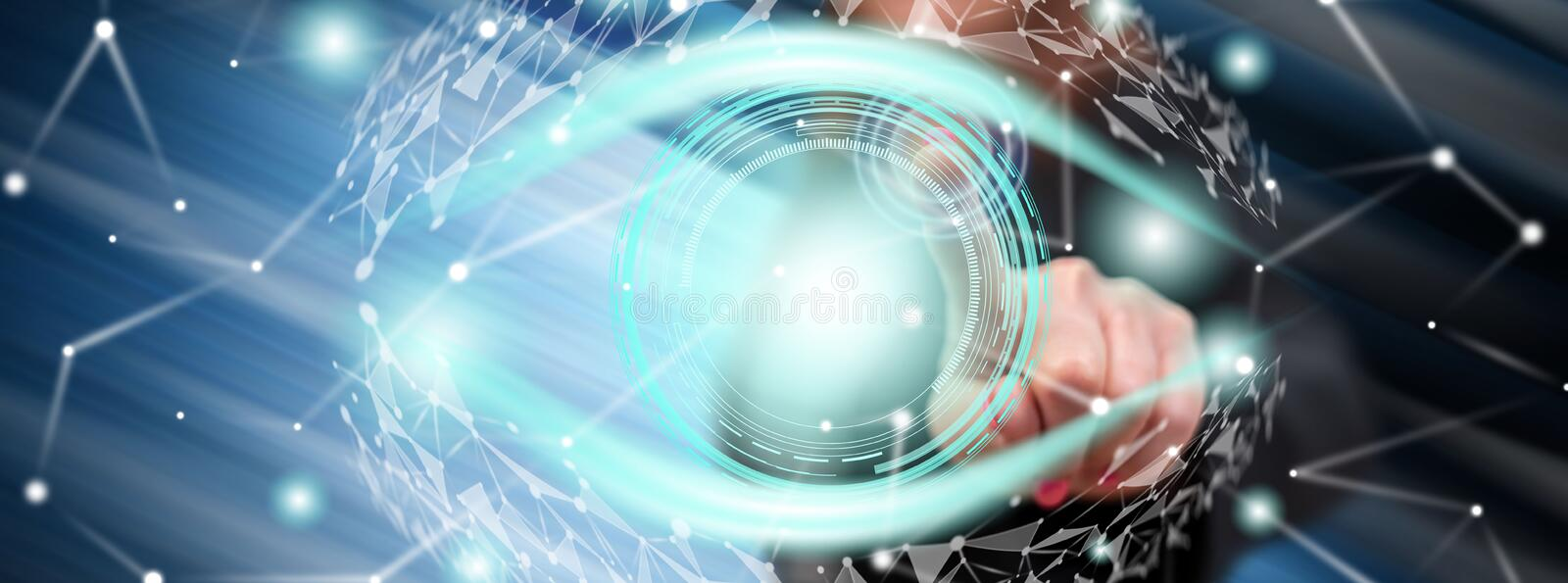 Woman touching a digital eye concept royalty free stock images