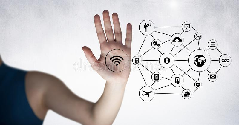 Woman touching digitally generated application icons royalty free stock photo