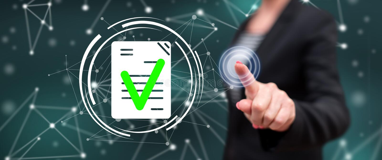 Woman touching a document validation concept stock image