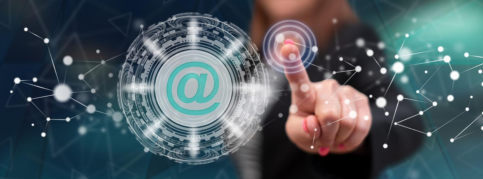 Woman touching an email concept royalty free stock photos