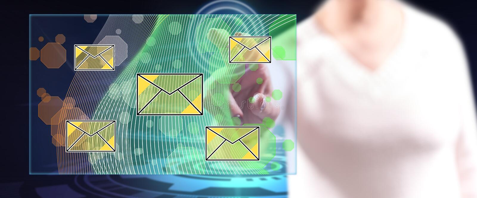 Woman touching an email concept stock image