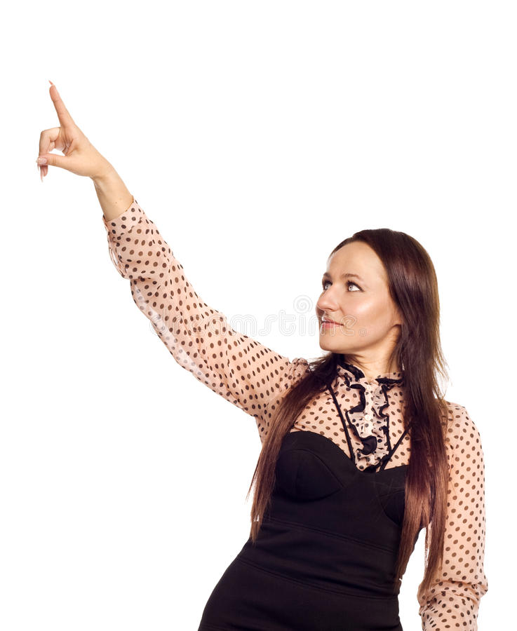 Woman touching on empty space royalty free stock photos