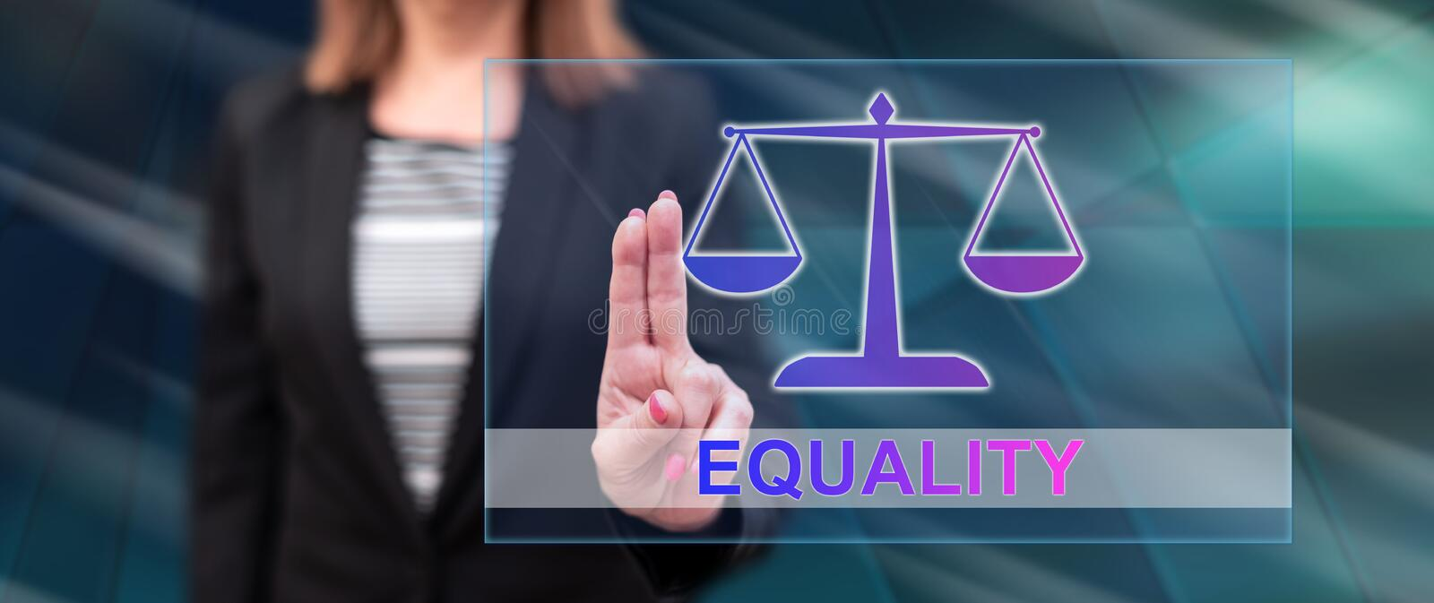 Woman touching an equality concept royalty free stock photo