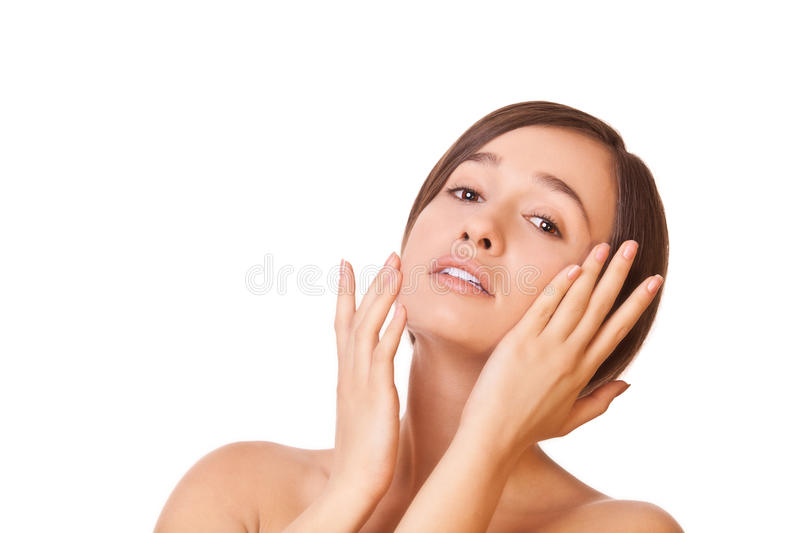 Download Woman touching face stock image. Image of front, cosmetic - 28442489