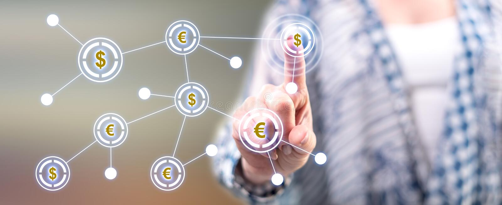 Woman touching a financial network stock photography